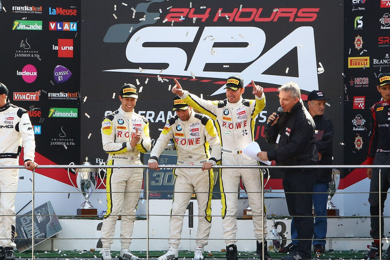 28.07.2016 to 31.07.2016, 2016 Blancpain GT Series Endurance Cup, Total 24 Hours of Spa, Spa Francorchamps, Spa (BEL). Podium, Alexander Sims (GBR), Phillipp Eng (AUT), Maxime Martin (BEL), No 99, Rowe Racing, BMW M6 GT3